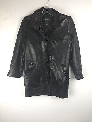$ CDN45 • Buy DANIER Women's Black Leather Jacket Button Up Collared Size Small