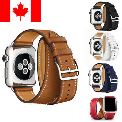 $ CDN14.99 • Buy Leather Double Tour Replacement Band For For Apple Watch (series 1 2 3 4 5)