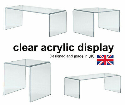 Acrylic Display Shelves- Clear Display Plastic Perspex Stands Risers -Hoverstand • 5.88£