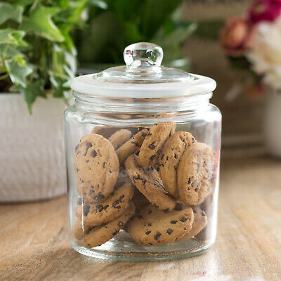 900ml Glass Biscotti Storage Jar With Lid Canister Sweets Shop Candy Tin Wedding • 8.99£