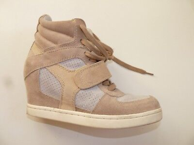 £24.99 • Buy Designers Women ASH Canvas Wedge Trainers Shoes / Size 38 Beige Lower Heel