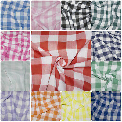 £3.99 • Buy Gingham Polycotton Fabric 1  Checked Material Shirt Uniform Craft 112cm 44  Wide