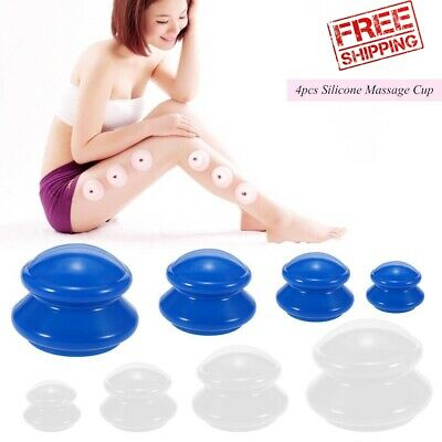 Anti Cellulite Cup Vacuum Cupping Silicone Family Facial Body Massage Therapy 4x • 11.99£