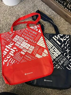 $ CDN26.69 • Buy Pair Of Lululemon 20y Manifesto Reusable Gym Shopping Eco Snap Tote Bag 14x16