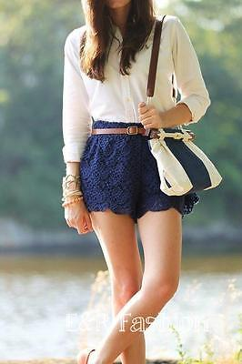 Zara Blue Lace Shorts Size Medium (b5) Ref: 0881 023 • 15£