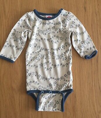 Katvig Long Sleeve Vest With Poppers, Cream And Blue Birds Size 56/1-2 Months • 8£