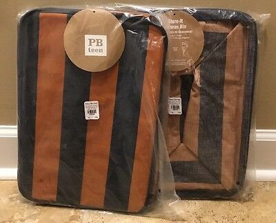 $31.99 • Buy NEW 2PC Pottery Barn Teen Guys Store It Canvas Bin ORANGE/NAVY Medium