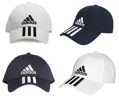 Adidas Womens Cap Baseball 3 Stripes Hats 6 Panel Sports Golf Cotton White Navy • 14.99£