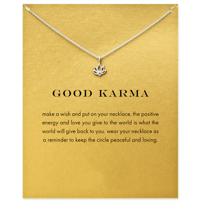 Necklace Good Karma Lotus Pendant Chain Silver Gift Wish Card • 6.99£