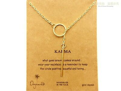 Karma Necklace Bronze Rose Gold Charm Circle And Drop Gift Wish Card • 4.99£