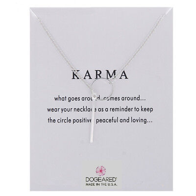 Karma Necklace Silver Charm Circle And Drop Gift Wish Card • 4.99£