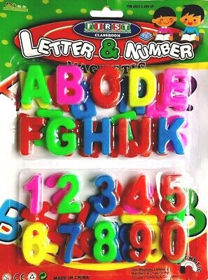 Kids Learning Teaching Toy 52 MAGNETIC LETTERS & NUMBERS Fridge Magnet Alphabets • 1.99£