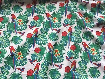 Parrot Tropical Fabric 100% Cotton Material   Hawaiian Birds On Ivory   Oeko Tex • 6£