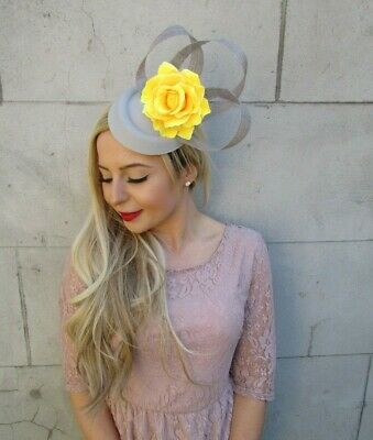 Grey Yellow Flower Pillbox Hat Hair Fascinator Clip Races Wedding Floral 7155 • 19.95£
