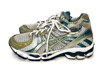 $37.77 • Buy Women's Asics Gel Kayano 17 Running Shoes Size 7.5 White Silver Green Blue T150N