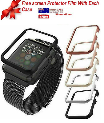 AU8.99 • Buy Full Cover Case Apple Watch Series 3,2 1 38mm 42mm+Free Tempered Glass Protector