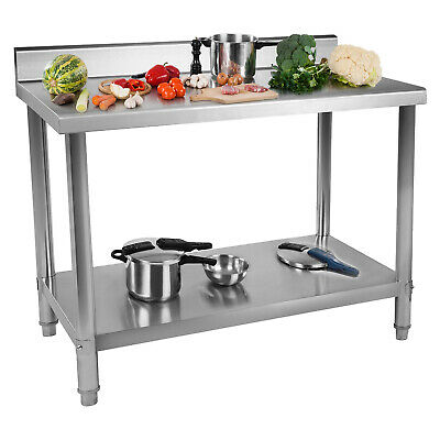 Stainless Steel Topped Work Bench Table 2 Shelves 11Cm Upstand 100X60 Cm  • 169£