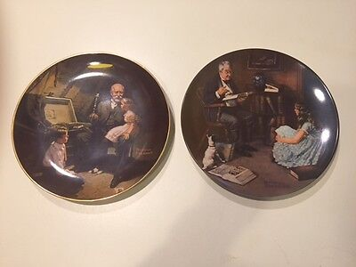 $ CDN6.28 • Buy 2 KNOWLES NORMAN ROCKWELL COLLECTOR PLATES Storyteller/Grandpa's Treasure Chest