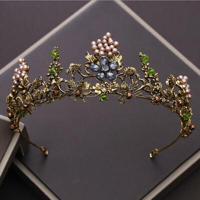 £32.03 • Buy Antique Gold Crown/tiara With Flowers, Pearls & Crystals, Bridal Or Racing