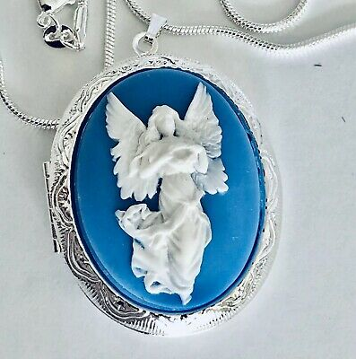 £15.50 • Buy GUARDIAN ANGEL Wedgwood Blue Color CAMEO Silver Pltd LOCKET NECKLACE Mothers Day