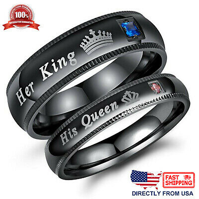 $8.96 • Buy His Queen Or Her King Couple's Matching Promise Ring Comfort Fit Wedding Band