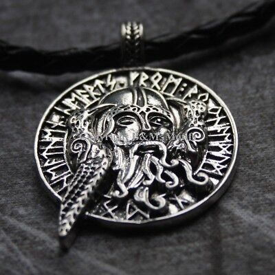 Odin Viking Necklace Pendant Norse Raven Rune Amulet Braided Leather Silver  • 6.99£