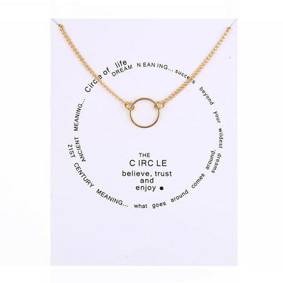 Karma Circle Of Life Necklace Believe Trust Enjoy Rose Gold Charm Gift Wish Card • 4.99£