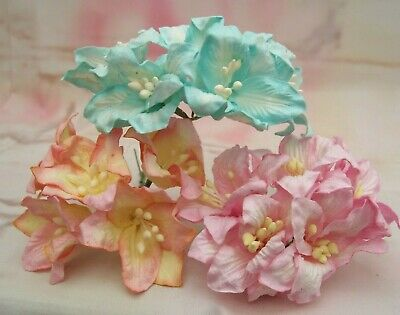 £2.50 • Buy 10x Mulberry Paper Flowers Lily  37mm Large Varied Colours Pink Grey White