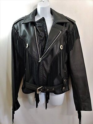 $124.99 • Buy Vtg 90s OPEN ROAD Black Leather Motorcycle Jacket Fringe Womens Mens Size SMALL