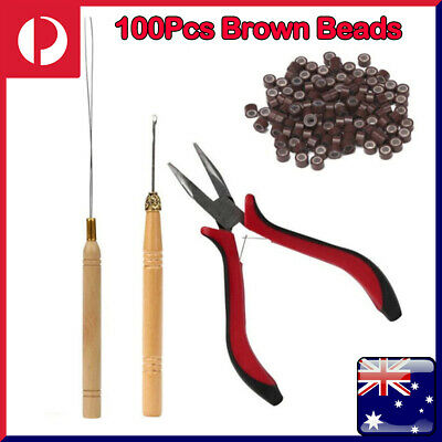 AU9.19 • Buy NEW Hair Extension Tools Kits Feather Pliers Pulling Needle Silicone Micro Beads