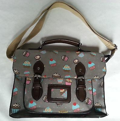 Messenger Satchel Style Handbag With Cupcake Design Perfect Condition • 8.99£