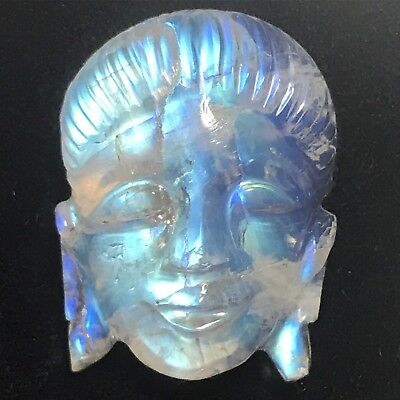$400 • Buy Natural 28.41 Carat Blue Sheen Moonstone Hand Carved Buddha Face Rare Genuine