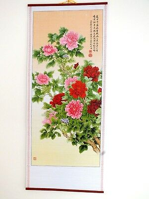 Chinese Bamboo Cane Feng Shui Wall Hanging Scroll Picture Peony - Wealth 10-4 • 7.49£