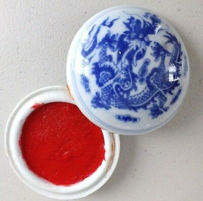 CHINESE 7cm RED COLOR SUMI INK PASTE DRAGON BRUSH WRITING PAINTING JAPANESE BOX  • 9.79£