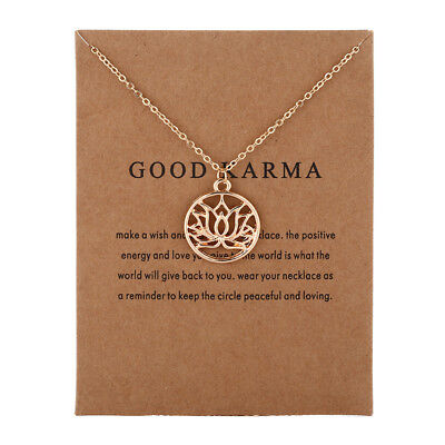 Necklace Good Karma Lotus Pendant Buddhism Chain Bronze Rose Gold Gift Wish Card • 4.99£