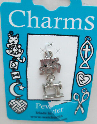 $2.95 • Buy Watch Us Traditional Pewter Sewing Charm Made In USA -  Linked Sewing Machine