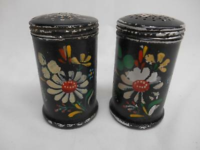 Old Vtg ALUMINUM HAND-PAINTED SALT & PEPPER SHAKERS S&P Floral Motif Mid-Century • 19.99$