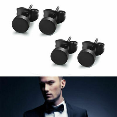 AU9.29 • Buy Pair Black Stud Flat Round Barbell Earrings Plug Gym Mens Mm 316 Stainless Steel