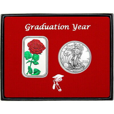 View Details Graduation Year Red Rose Enameled Silver Bar & Silver American Eagle 2pc Set • 67.95$