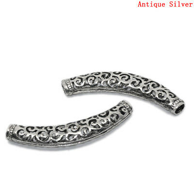 $7.50 • Buy 10 Pcs. Antique Silver Noodle Carved Hollow Tube Extra Long Curved Beads - 64mm