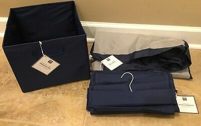 $47.99 • Buy NEW 3PC Pottery Barn Teen Dorm Sweater Bin + Shoe Storage + Laundry Bag NAVY