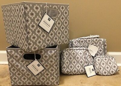 $59.99 • Buy NEW 5PC Pottery Barn Teen Hanging Toiletry + Travel Pouches + Bins BOHO GRAY