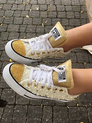 0274d82c19ff Pearl And Rhinestone Converse Sneakers • 220.00