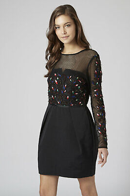 £9.99 • Buy TOPSHOP  RRP £150   Black Embellished Dress 6 New With Tags