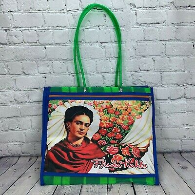 $19.99 • Buy Frida Kahlo Retro Woven Plaid Plastic Mesh Beach Tote Shopping Bag Vintage Style