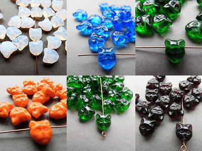 Czech Pressed Glass Cat Head Beads 11 Mm Pack Of 10 • 2.10£