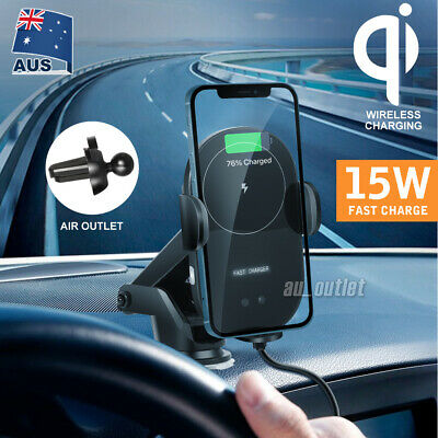 AU33.95 • Buy Automatic Qi Wireless Car Charging Charger Mount Clamping Vent Phone Holder NEW