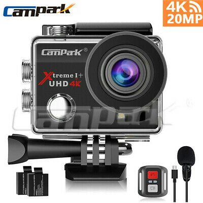 Campark 4K30fps Action Camera UHD 20MP WiFi EIS Sports Cam Underwater+Microphone • 37.71£