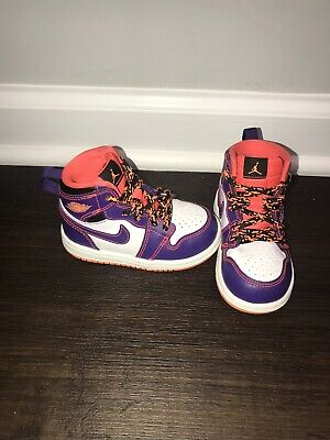 dfaea14c3ff1 Nike Air Jordan 1 High Purple Bright Crimson Orange TD Toddler Size 5c •  34.50