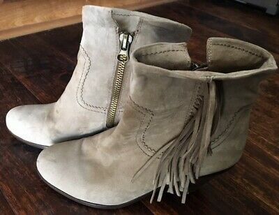 30b2a1a7f Women s SAM EDELMAN Taupe Grey Fringe Ankle Zipper Boots Booties